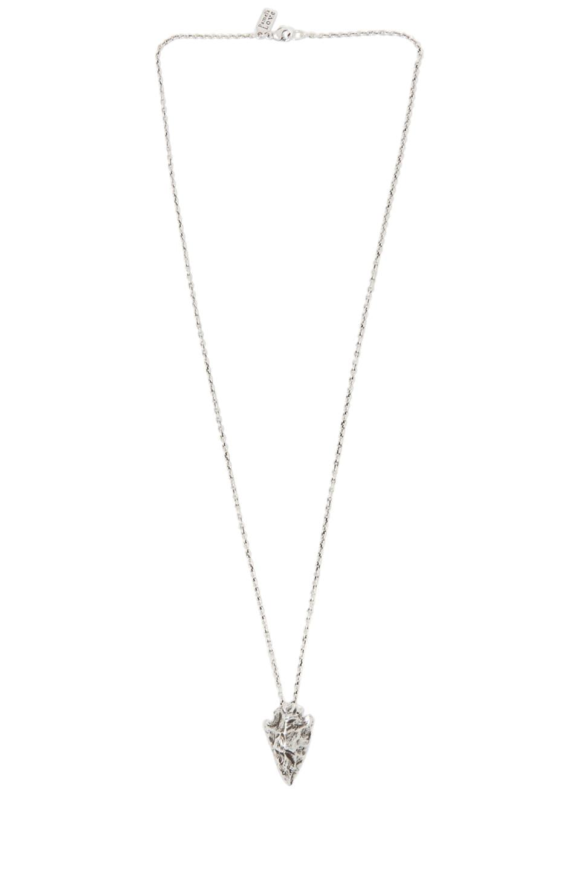 Image 2 of Pamela Love Mini Arrowhead Necklace in Antique Silver