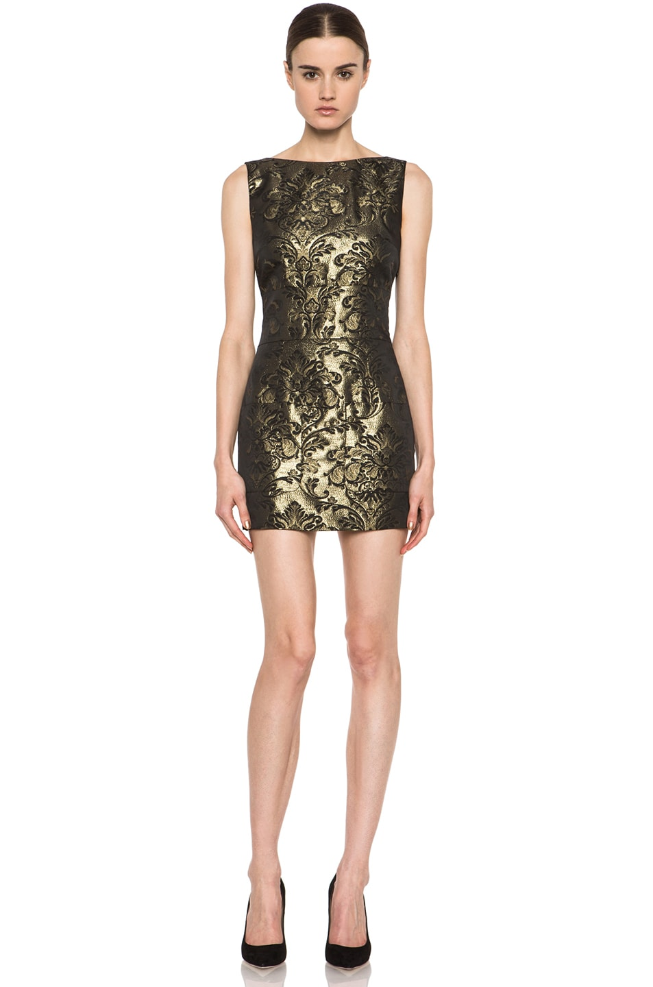 Image 1 of Pierre Balmain Backless Brocade Poly-Blend Dress in Gold & Black