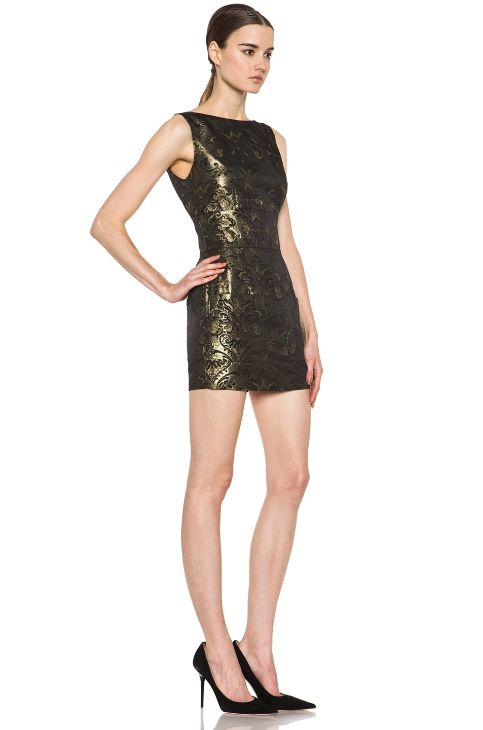 Image 3 of Pierre Balmain Backless Brocade Poly-Blend Dress in Gold & Black