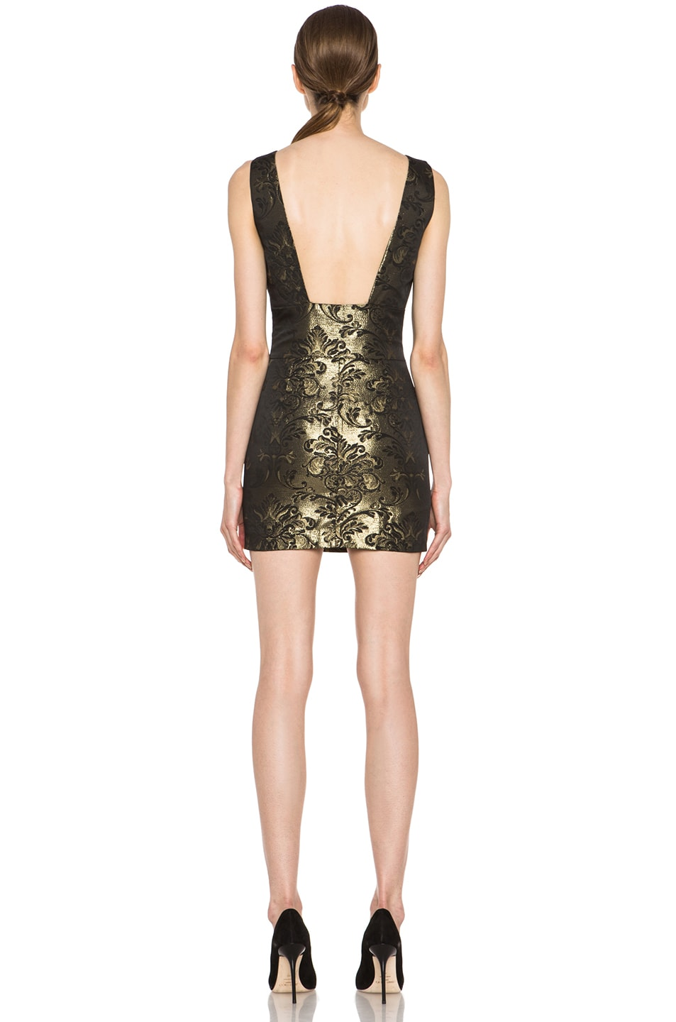 Image 4 of Pierre Balmain Backless Brocade Poly-Blend Dress in Gold & Black