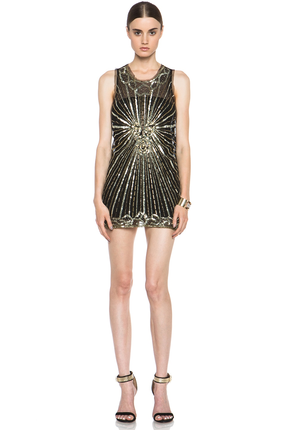 Image 1 of Pierre Balmain Embellished Polyamide Dress in Black