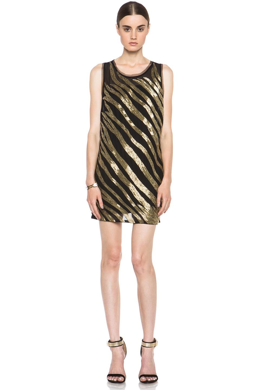 Image 1 of Pierre Balmain Embellished Poly-Blend Dress in Black & Gold