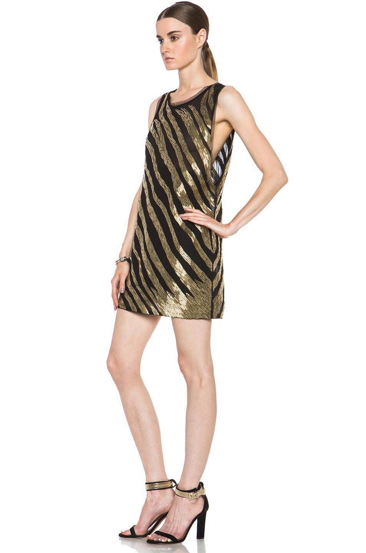 Image 2 of Pierre Balmain Embellished Poly-Blend Dress in Black & Gold