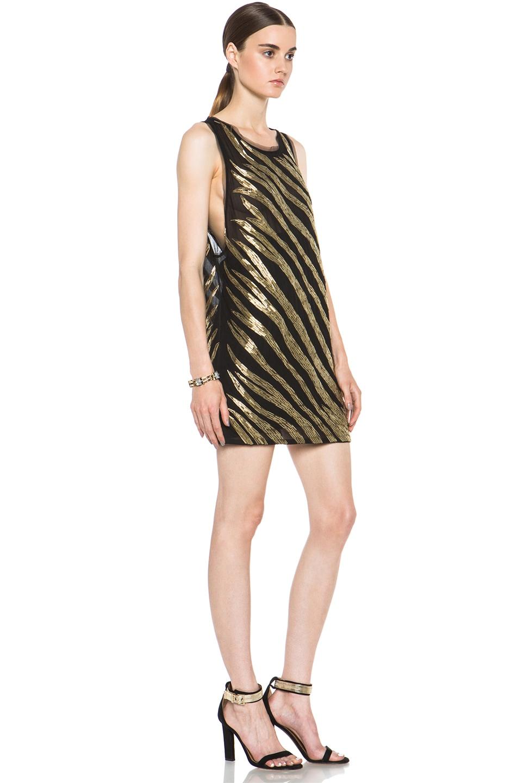 Image 3 of Pierre Balmain Embellished Poly-Blend Dress in Black & Gold