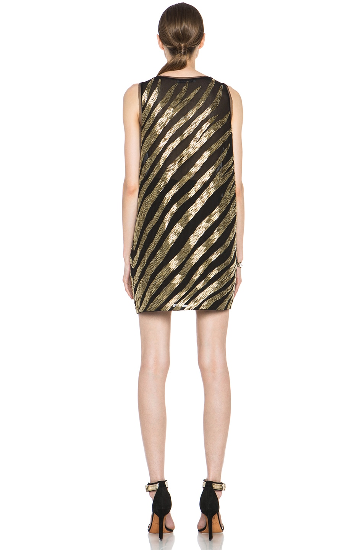 Image 4 of Pierre Balmain Embellished Poly-Blend Dress in Black & Gold