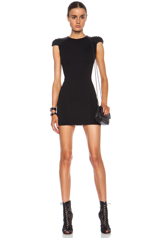 Image 1 of Pierre Balmain Embellished Viscose-Blend Dress in Black