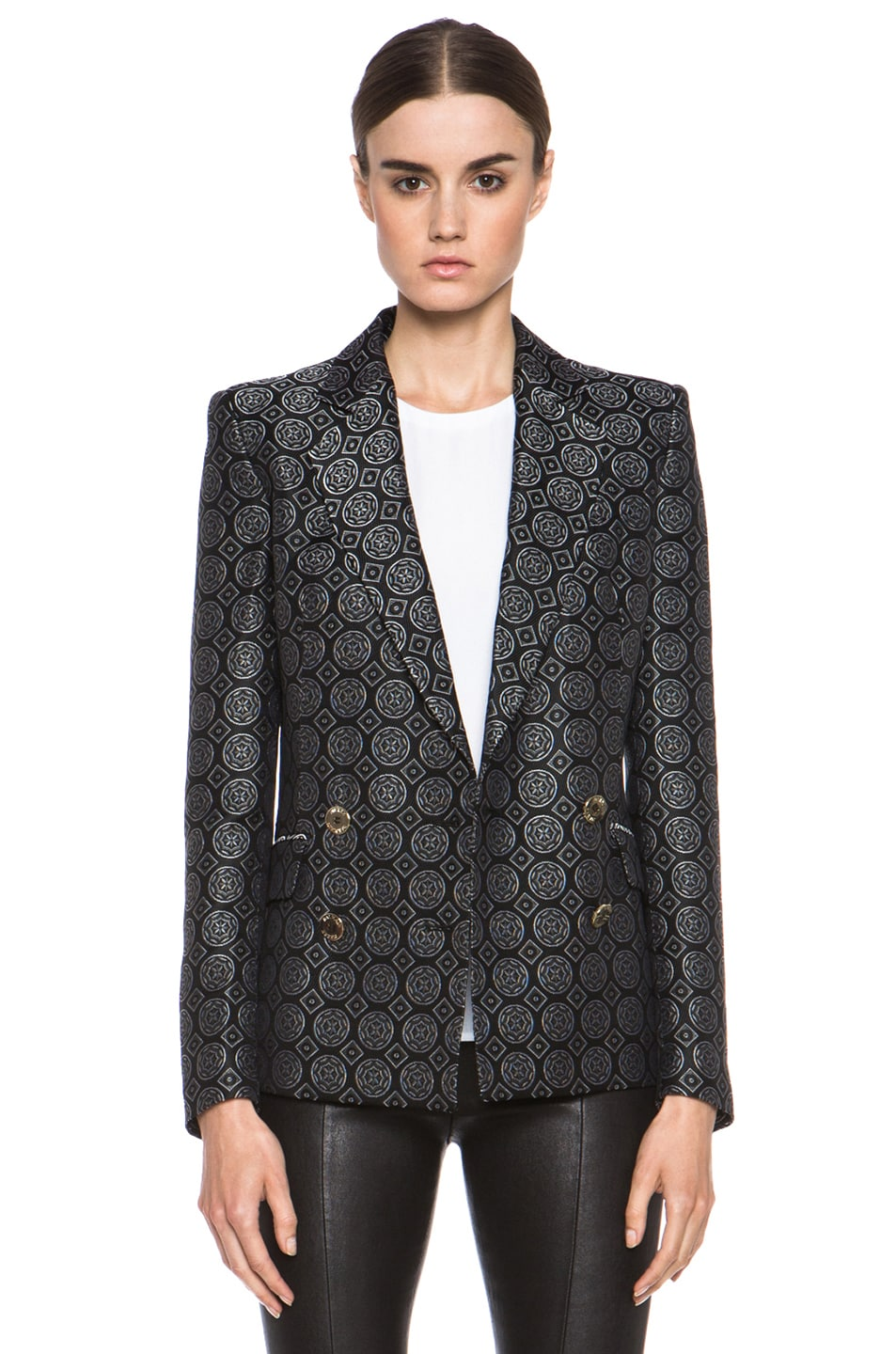 Image 1 of Pierre Balmain Brocade Acetate-Blend Blazer in Black