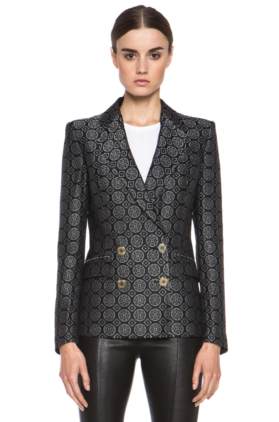 Image 2 of Pierre Balmain Brocade Acetate-Blend Blazer in Black