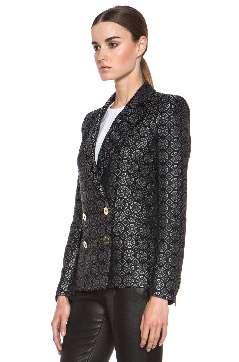 Image 3 of Pierre Balmain Brocade Acetate-Blend Blazer in Black
