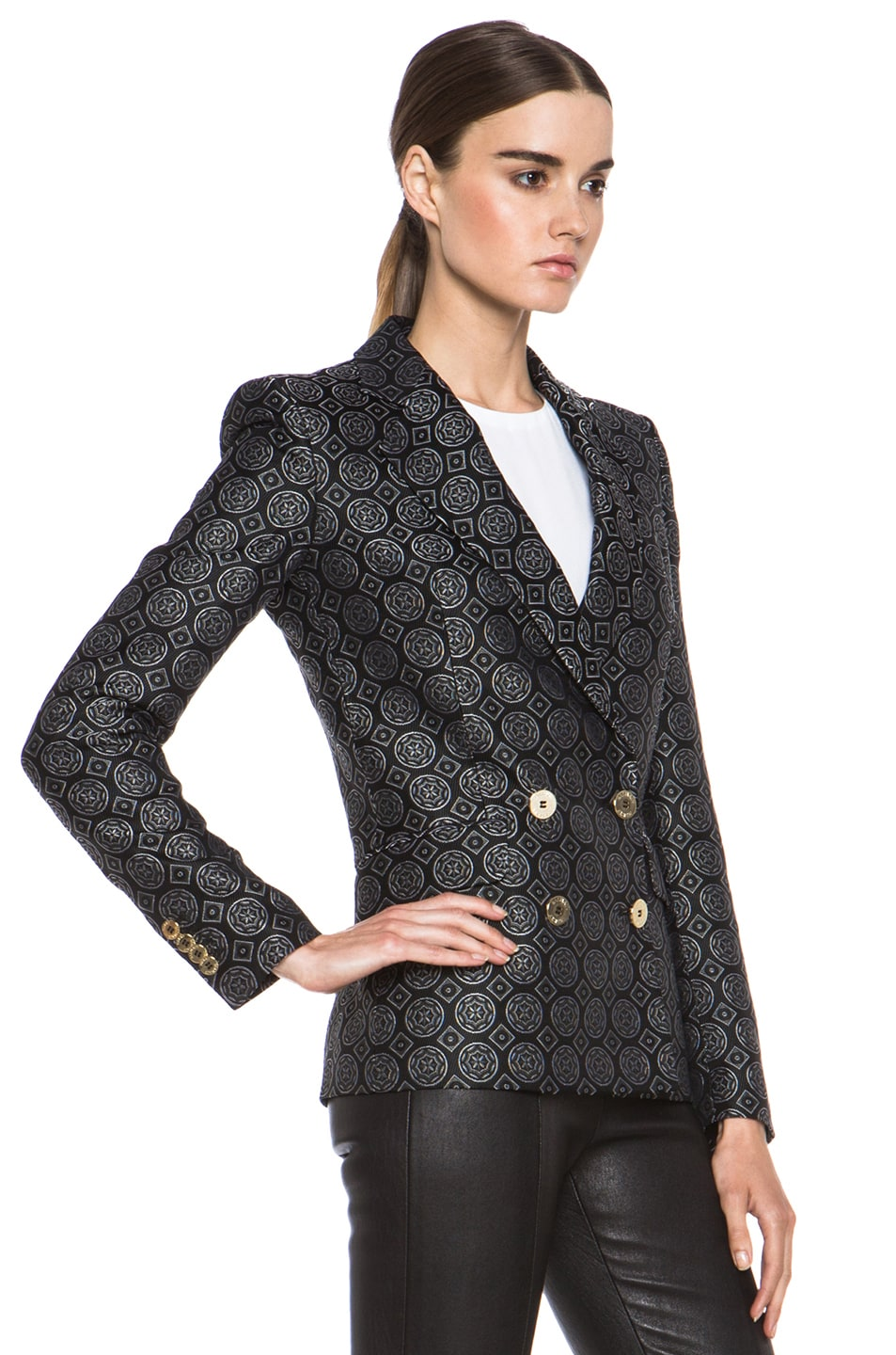 Image 4 of Pierre Balmain Brocade Acetate-Blend Blazer in Black