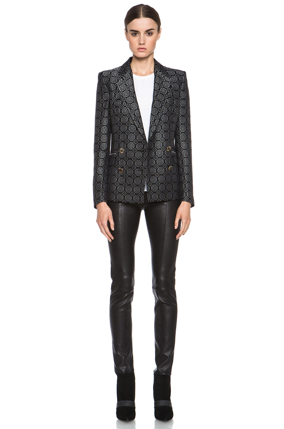 Image 6 of Pierre Balmain Brocade Acetate-Blend Blazer in Black
