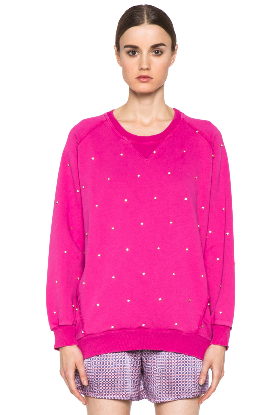 Image 1 of Pierre Balmain Embroidered Pullover Sweatshirt in Hot Pink