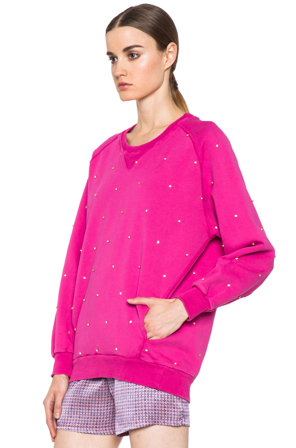 Image 2 of Pierre Balmain Embroidered Pullover Sweatshirt in Hot Pink