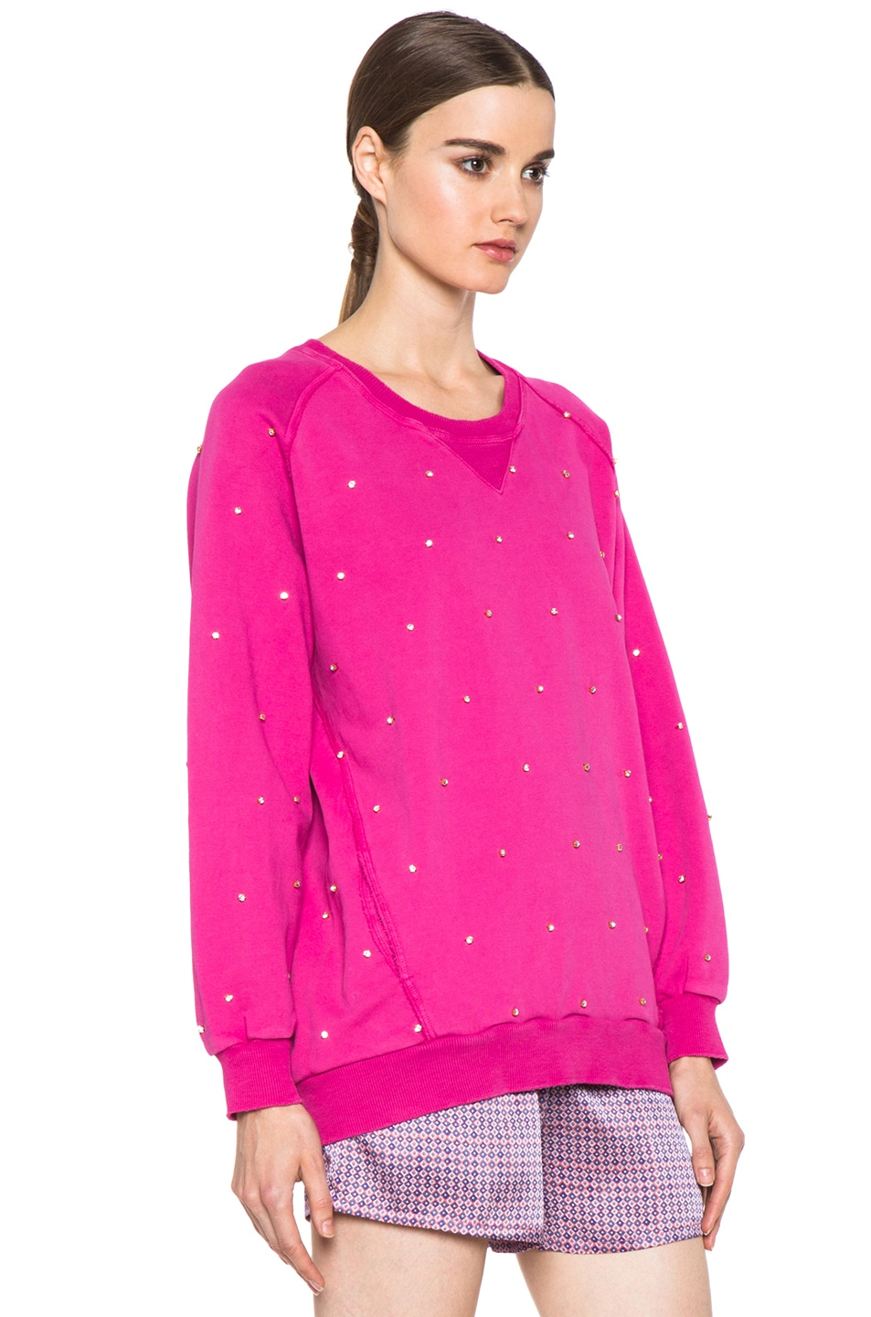 Image 3 of Pierre Balmain Embroidered Pullover Sweatshirt in Hot Pink