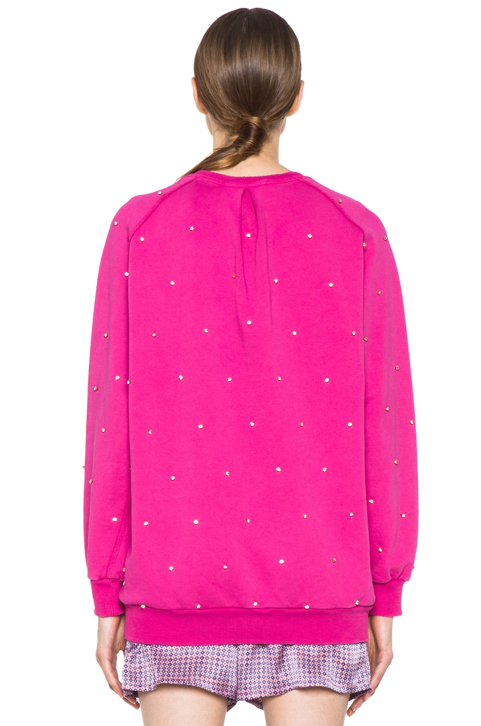 Image 4 of Pierre Balmain Embroidered Pullover Sweatshirt in Hot Pink
