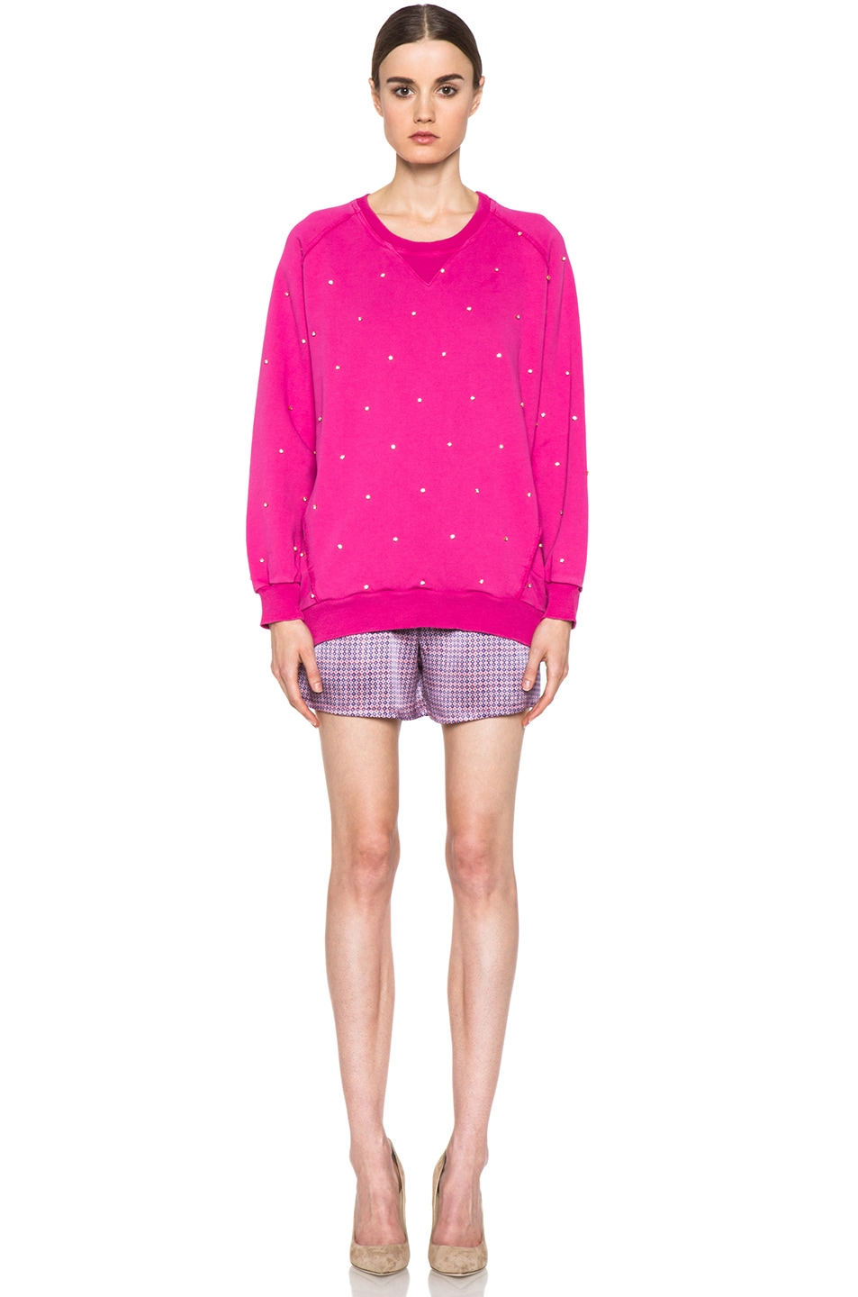Image 5 of Pierre Balmain Embroidered Pullover Sweatshirt in Hot Pink