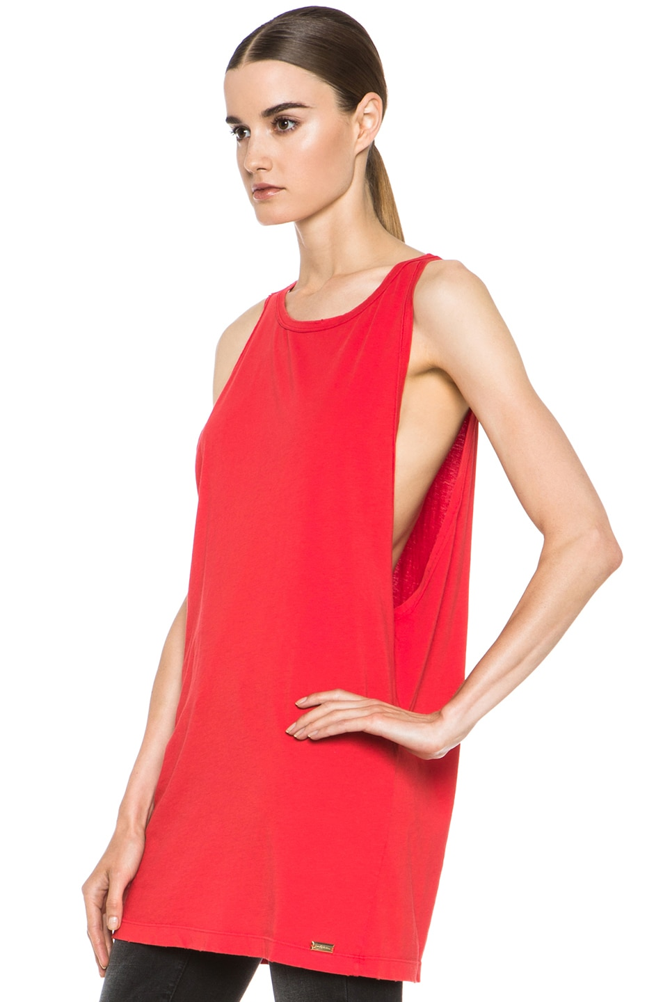 Image 2 of Pierre Balmain Cotton Tank in Red