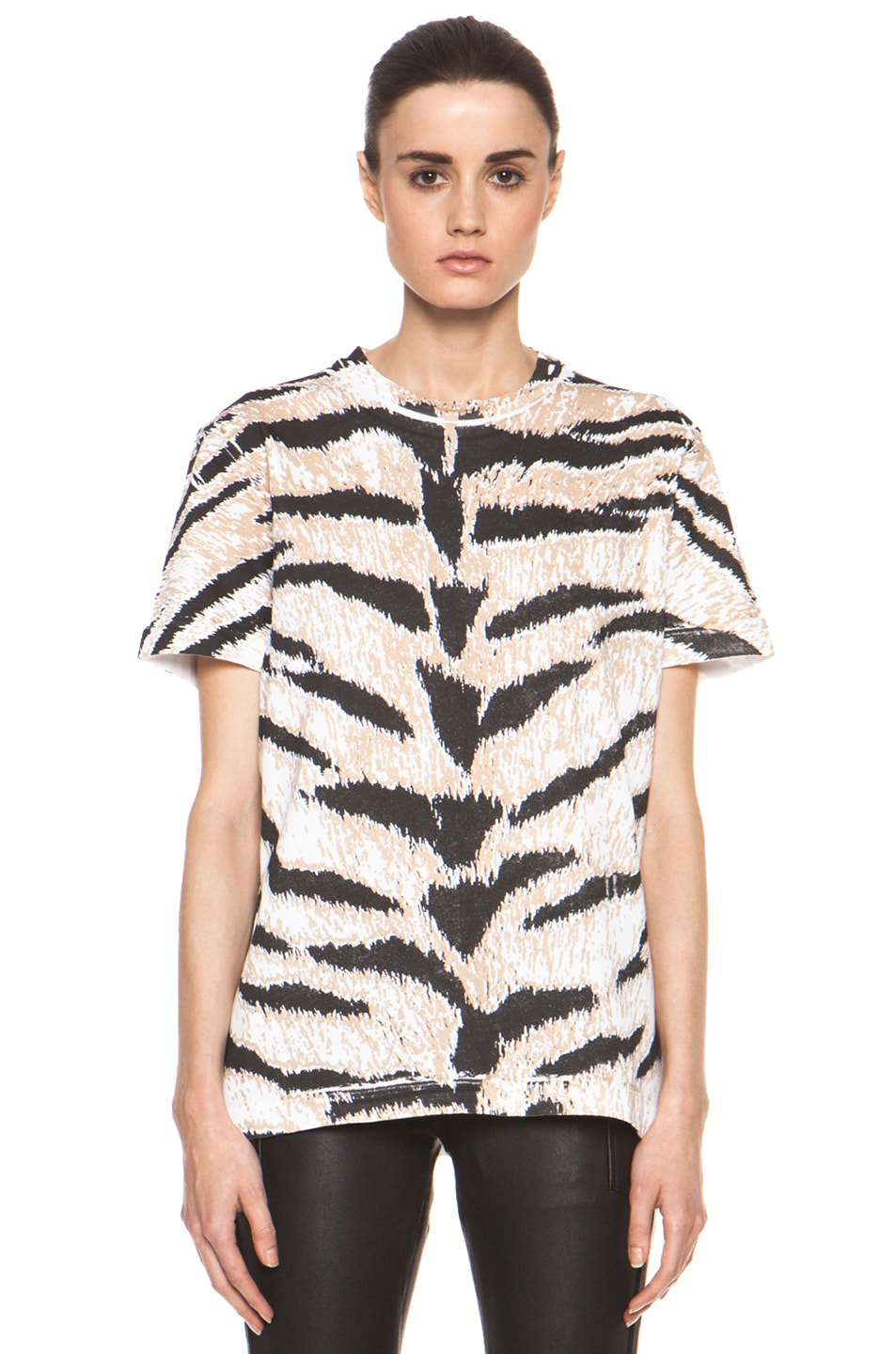 Image 2 of Pierre Balmain Tiger Print Tee in Brown Multi