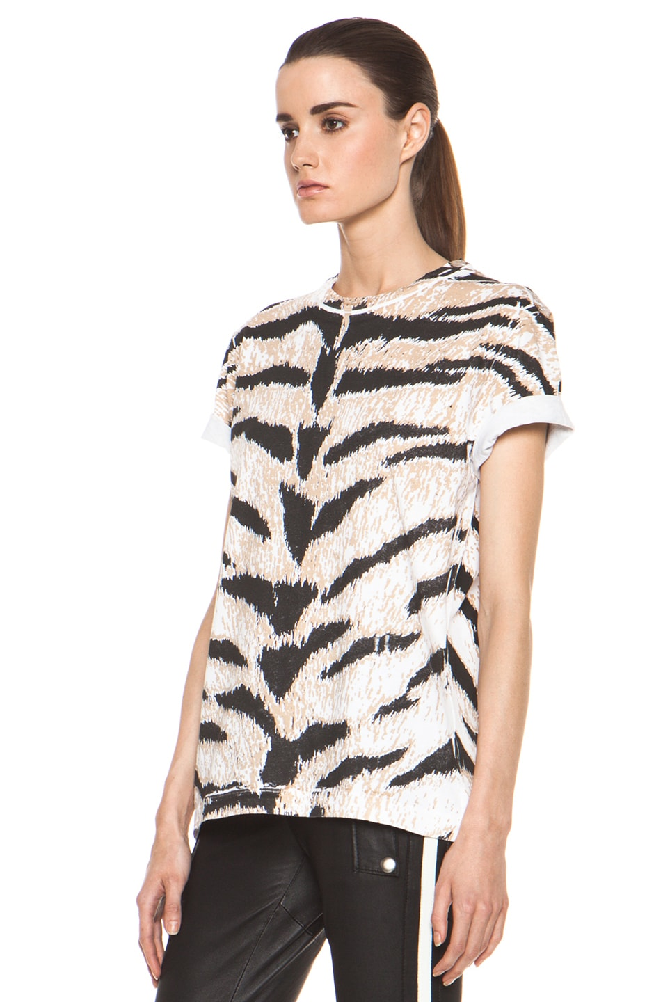 Image 3 of Pierre Balmain Tiger Print Tee in Brown Multi