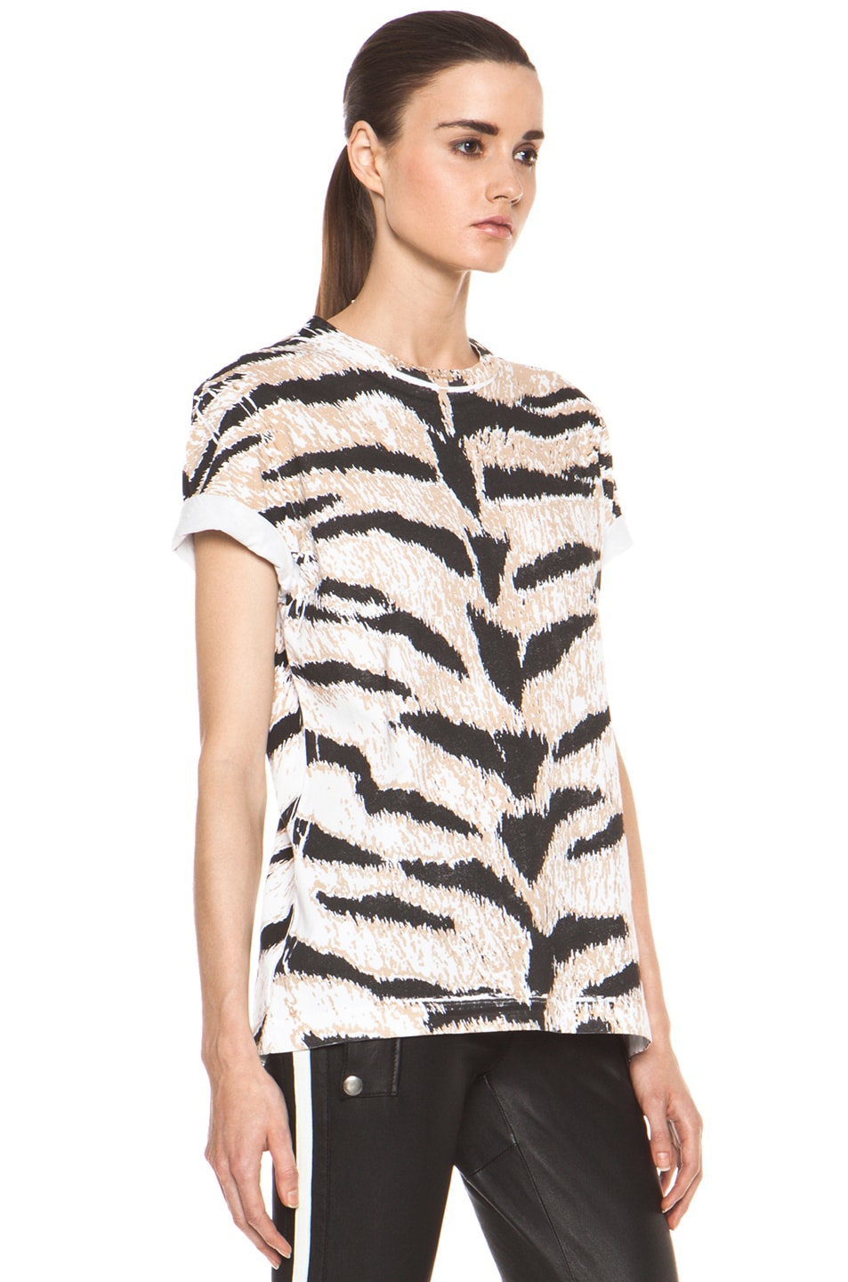 Image 4 of Pierre Balmain Tiger Print Tee in Brown Multi