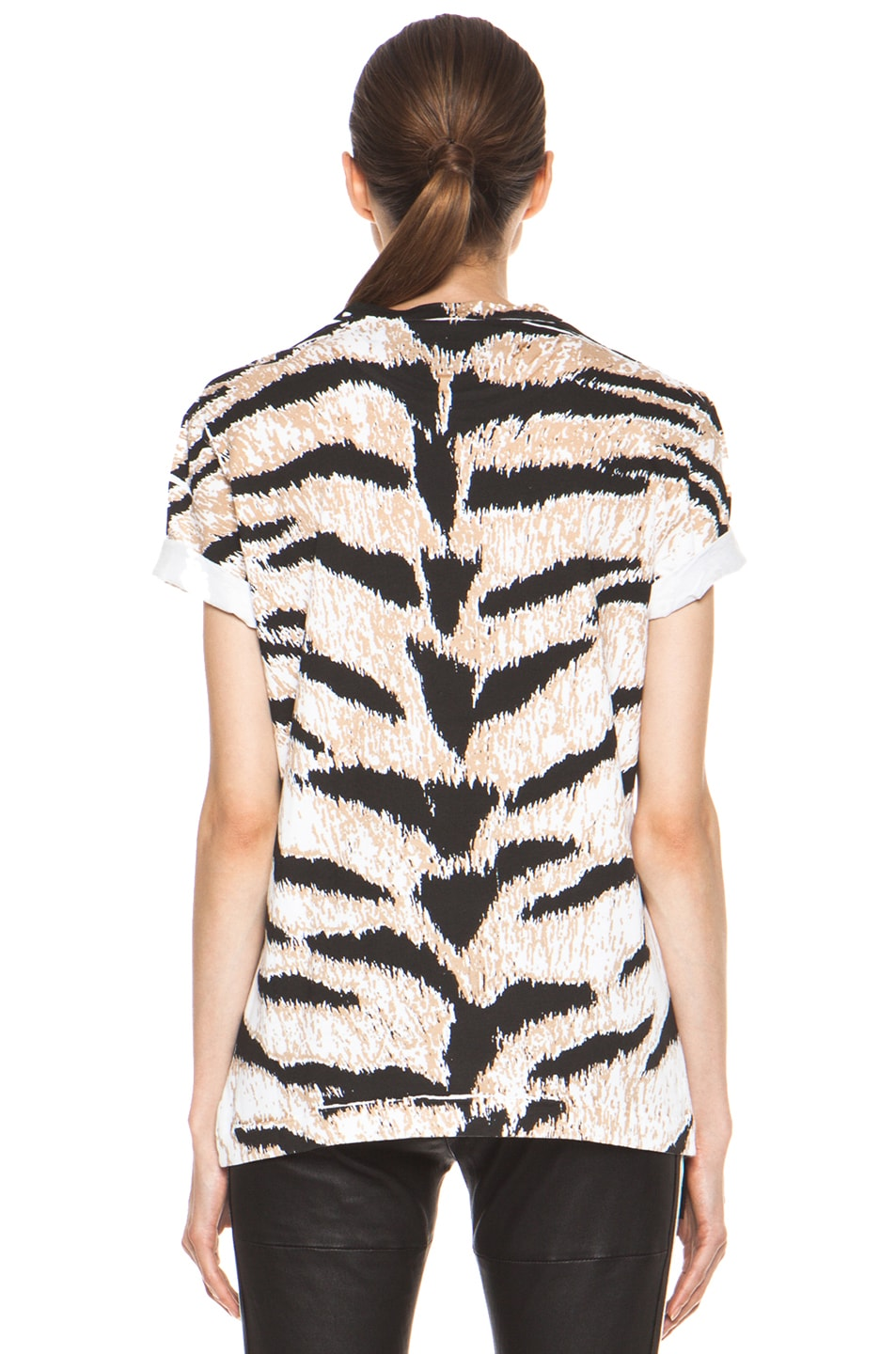 Image 5 of Pierre Balmain Tiger Print Tee in Brown Multi