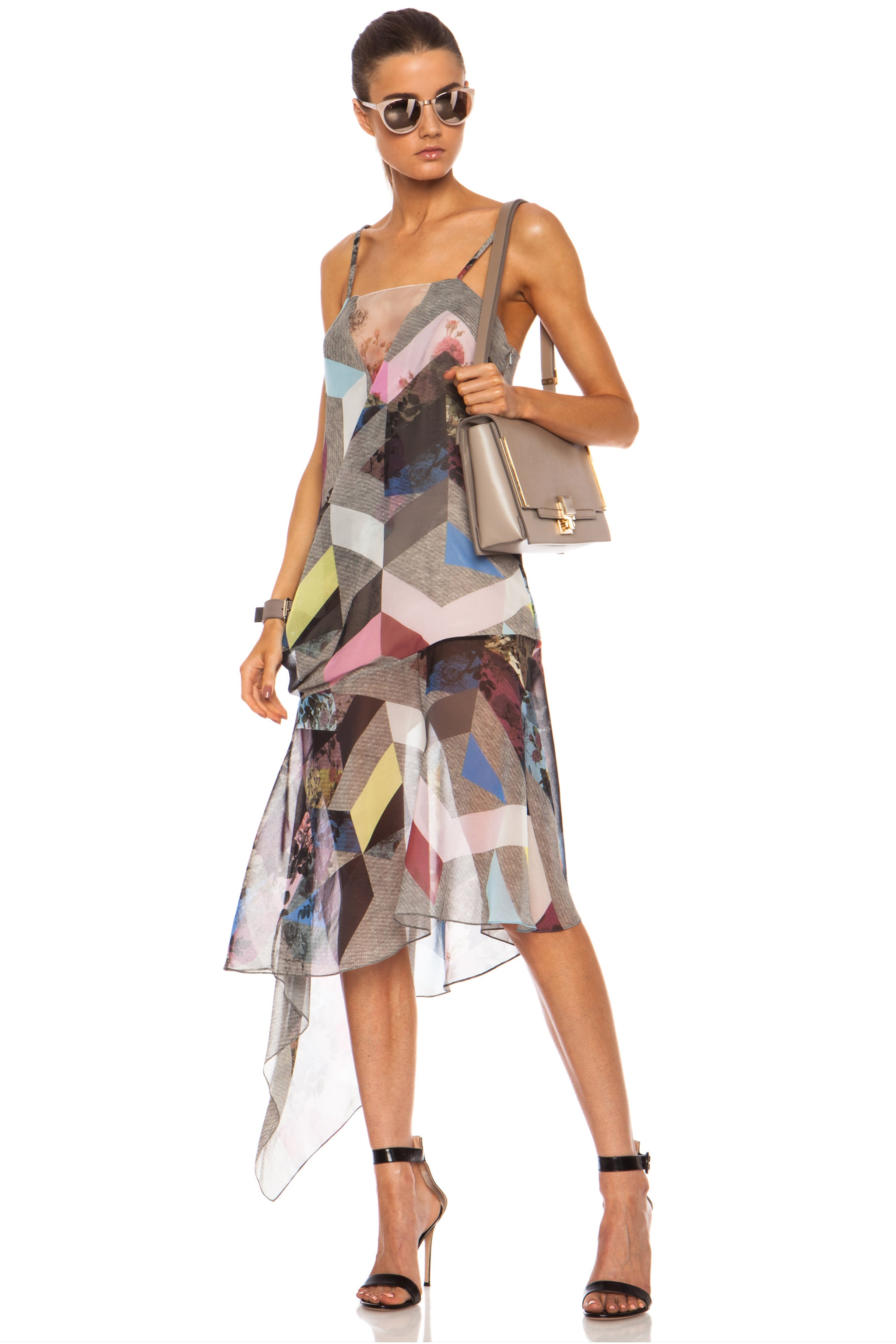 Image 1 of Preen Clover Printed Silk Georgette Tank Dress in Grey Marl Tile