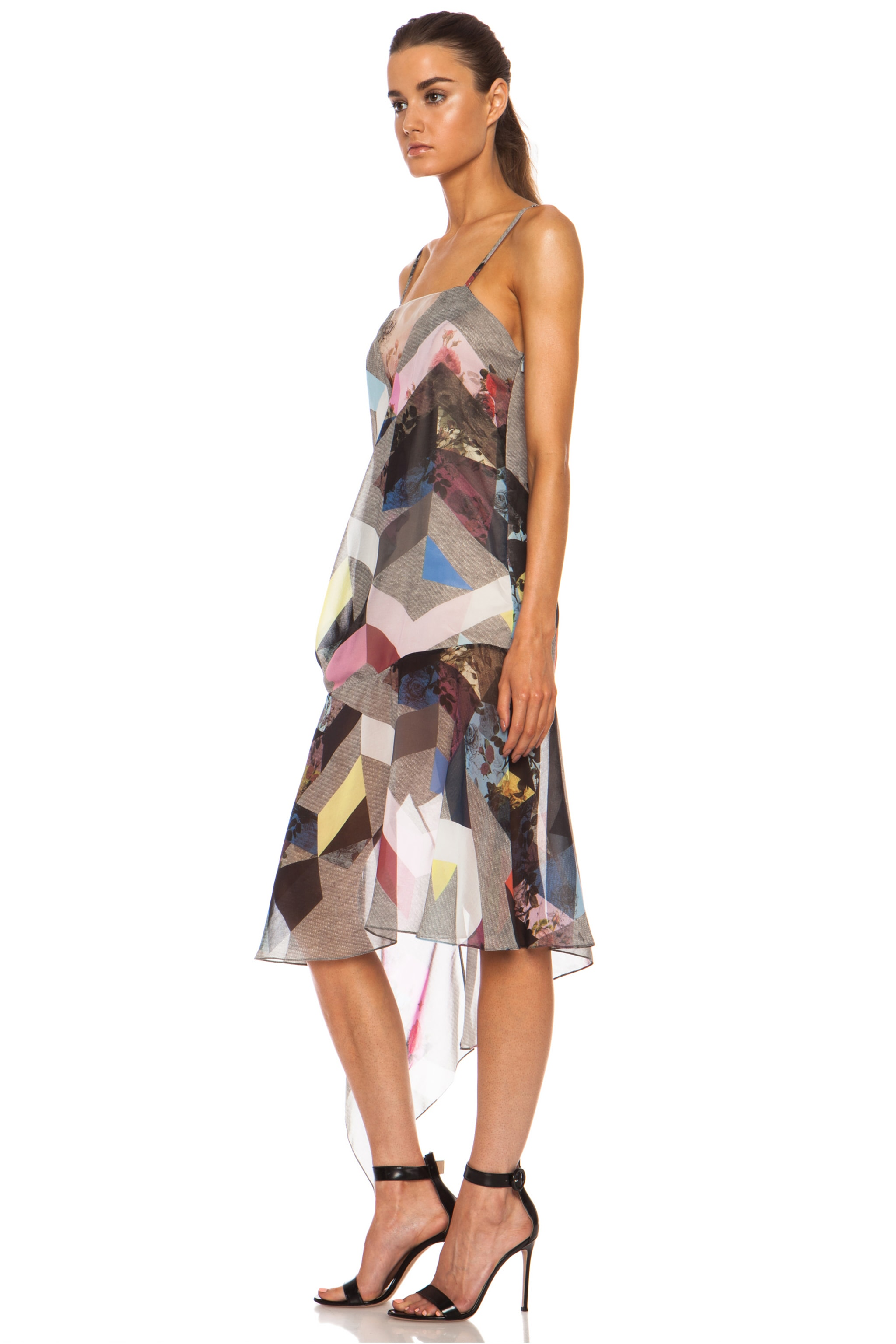 Image 2 of Preen Clover Printed Silk Georgette Tank Dress in Grey Marl Tile