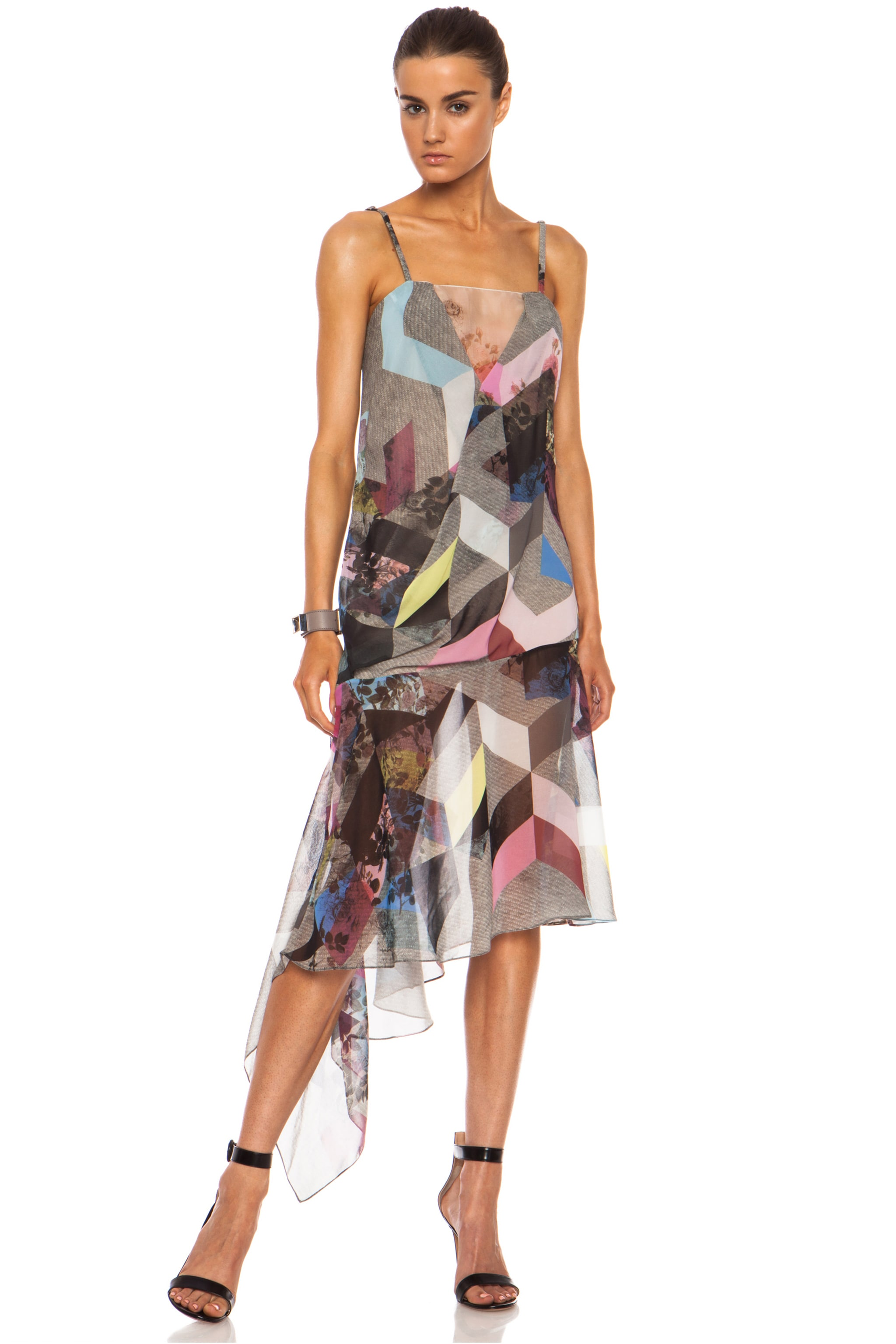 Image 3 of Preen Clover Printed Silk Georgette Tank Dress in Grey Marl Tile