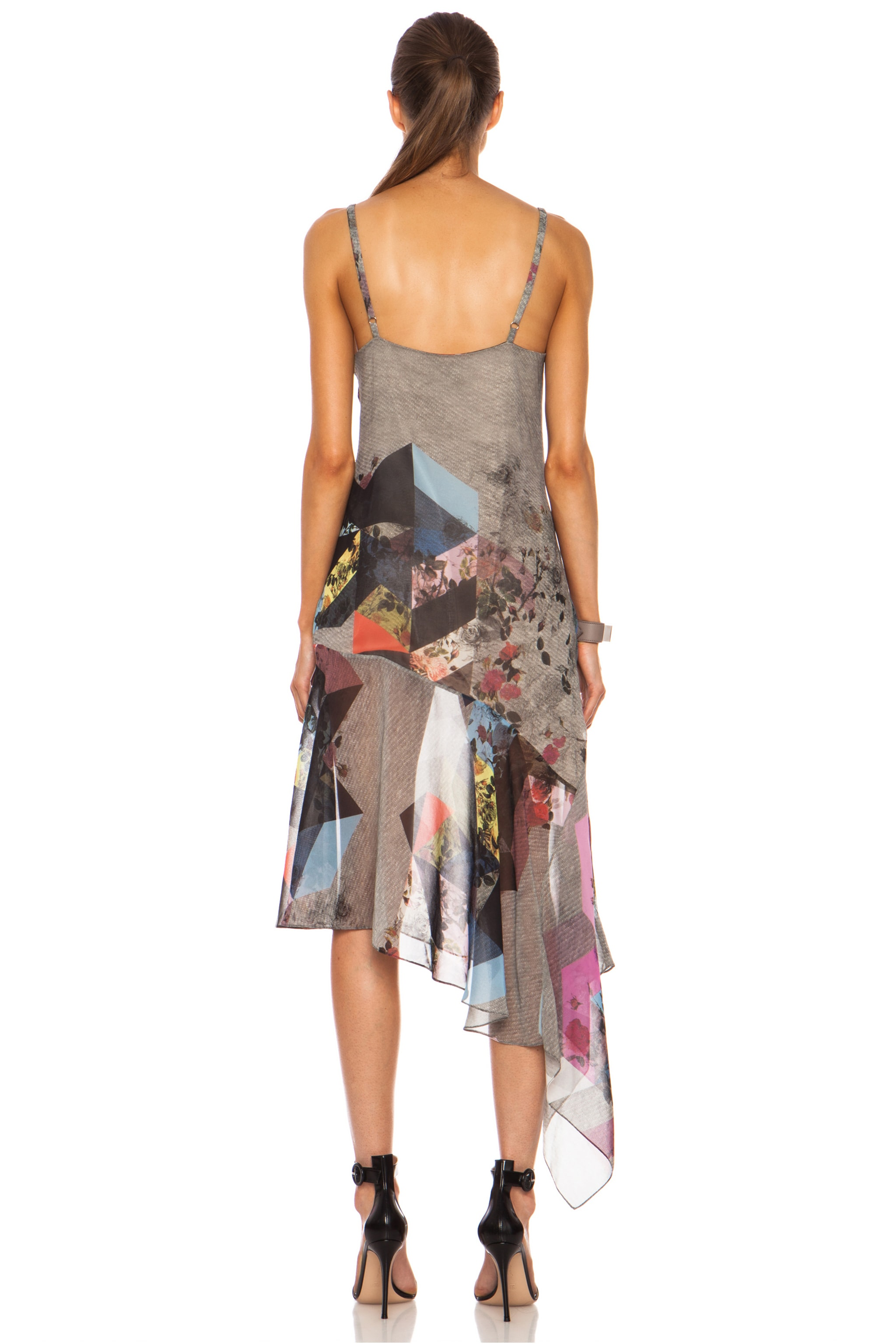 Image 4 of Preen Clover Printed Silk Georgette Tank Dress in Grey Marl Tile