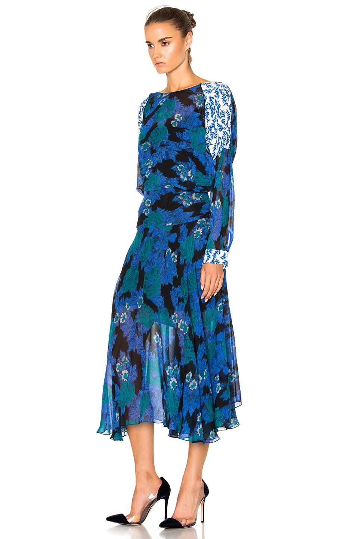 Image 2 of Preen by Thornton Bregazzi Laverne Dress in Cobalt Flower & Sky Leaf