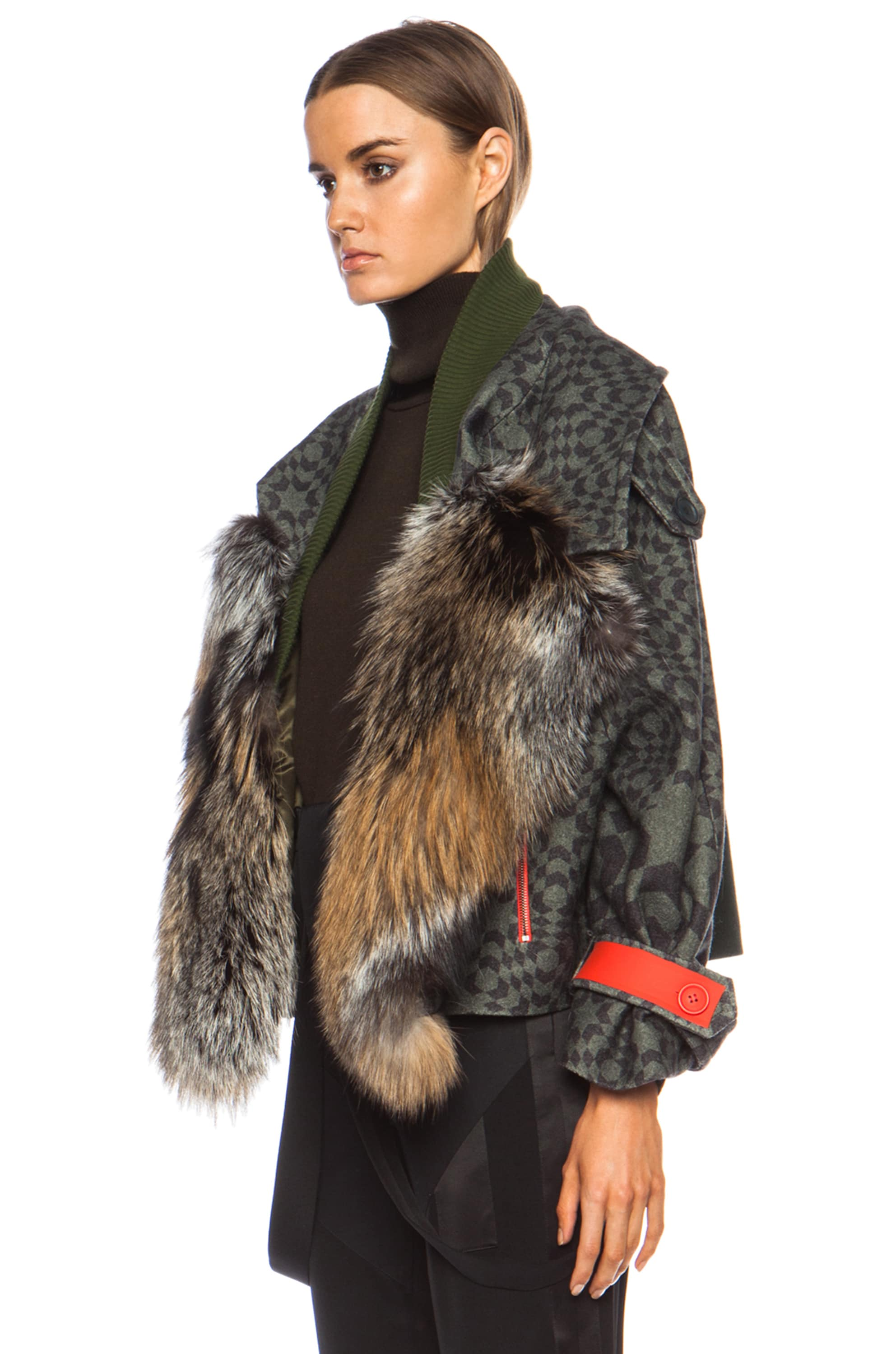 Image 2 of Preen by Thornton Bregazzi Falcon Fox Wool Jacket in Green Starbox