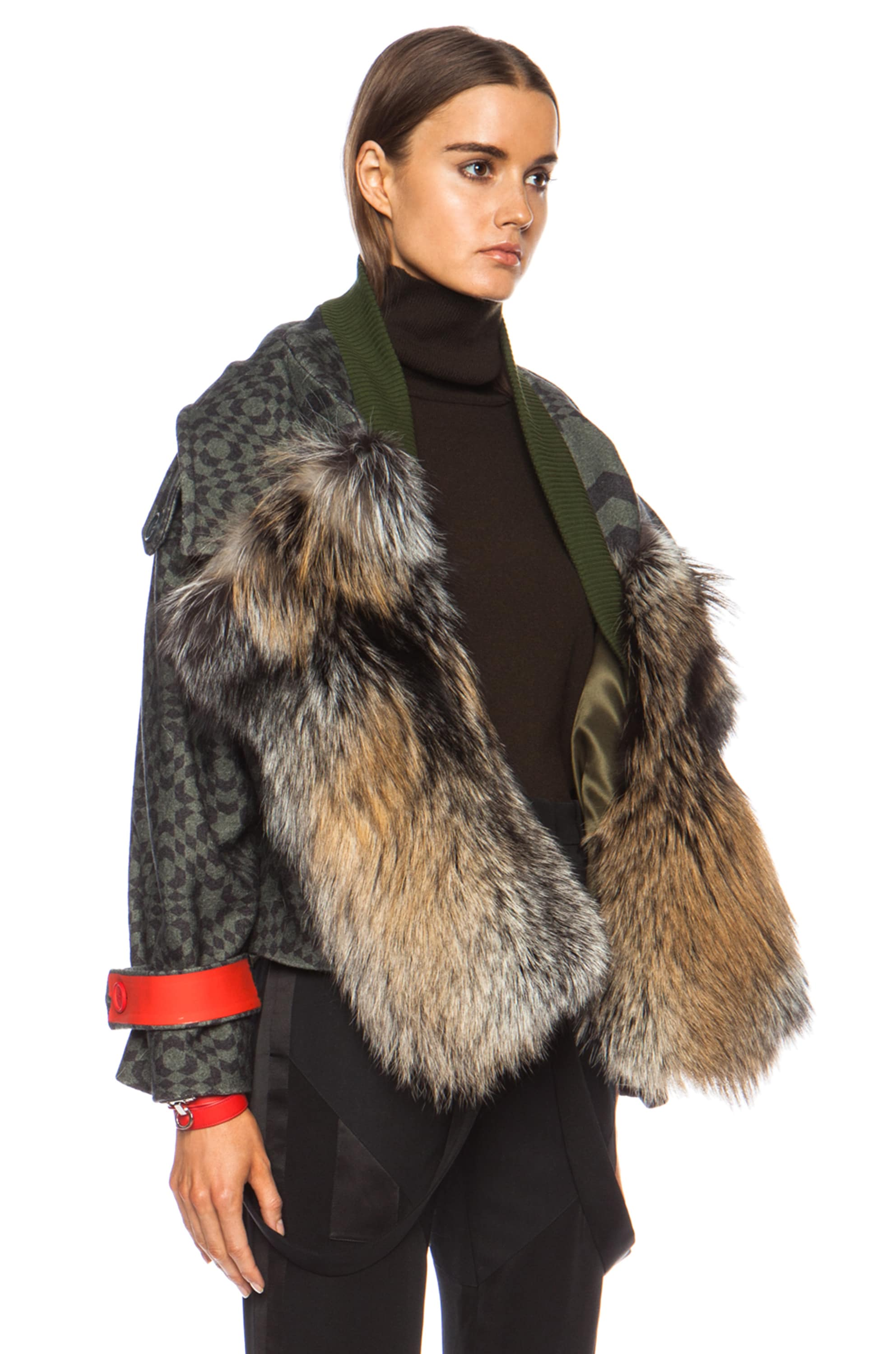 Image 3 of Preen by Thornton Bregazzi Falcon Fox Wool Jacket in Green Starbox