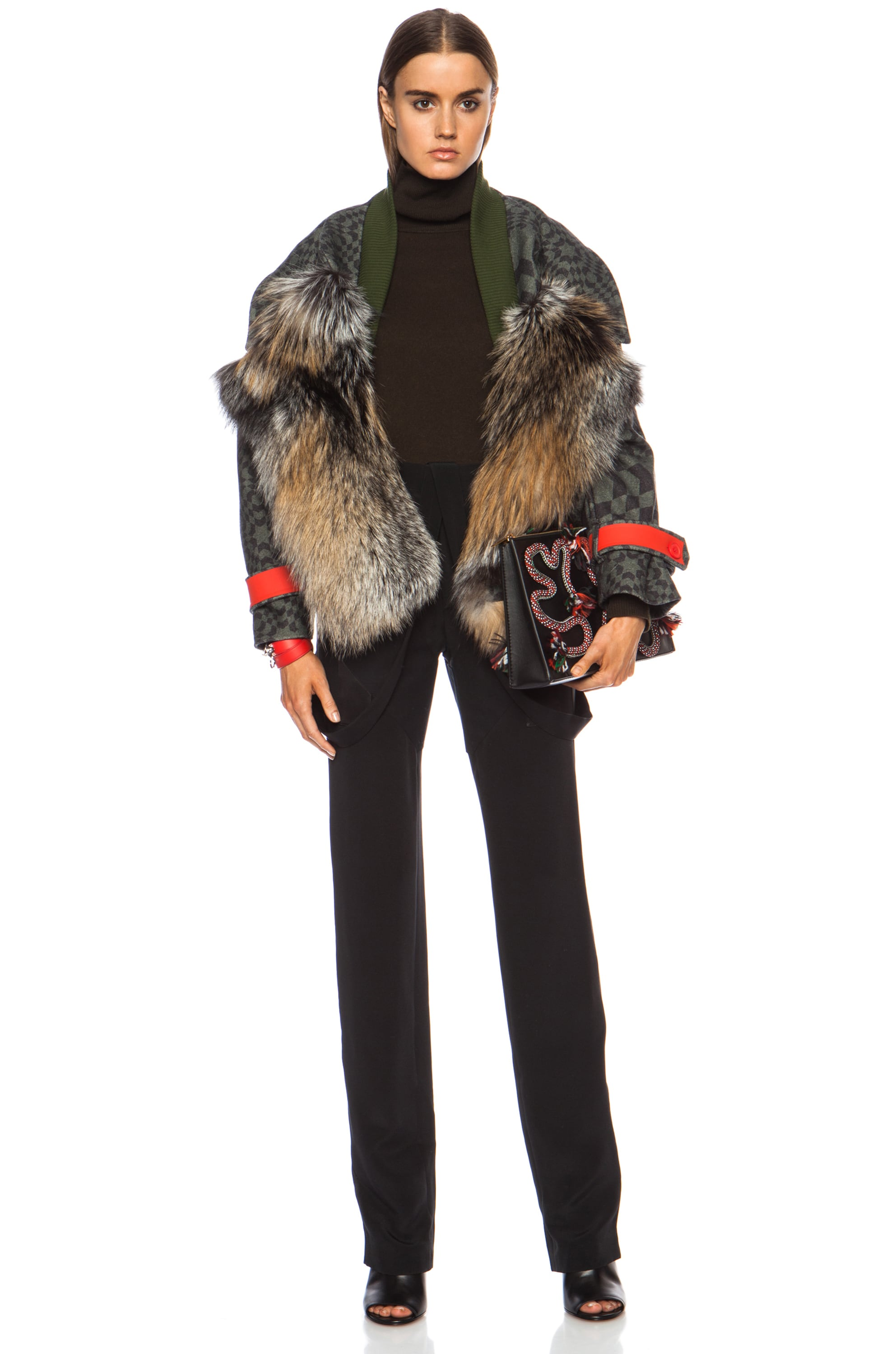 Image 5 of Preen by Thornton Bregazzi Falcon Fox Wool Jacket in Green Starbox