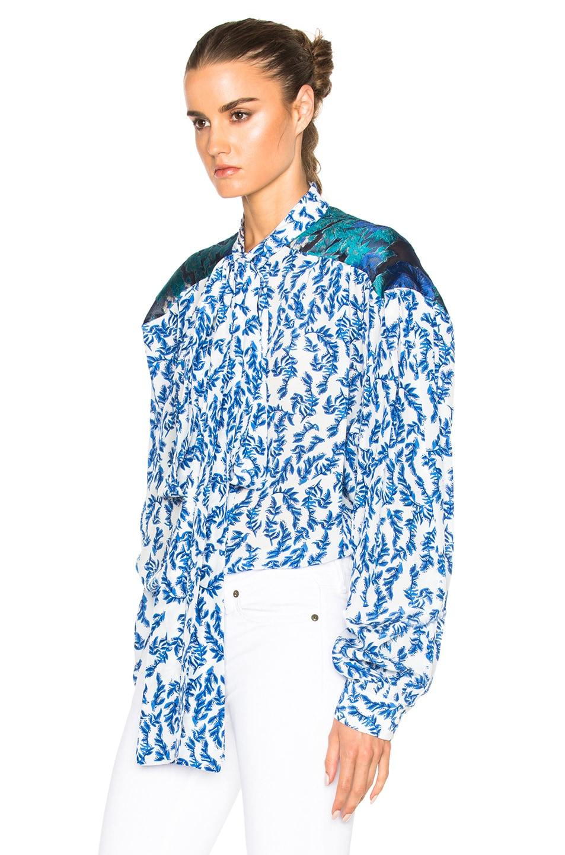 Image 2 of Preen by Thornton Bregazzi Corina Top in Blue & Sky Leaf