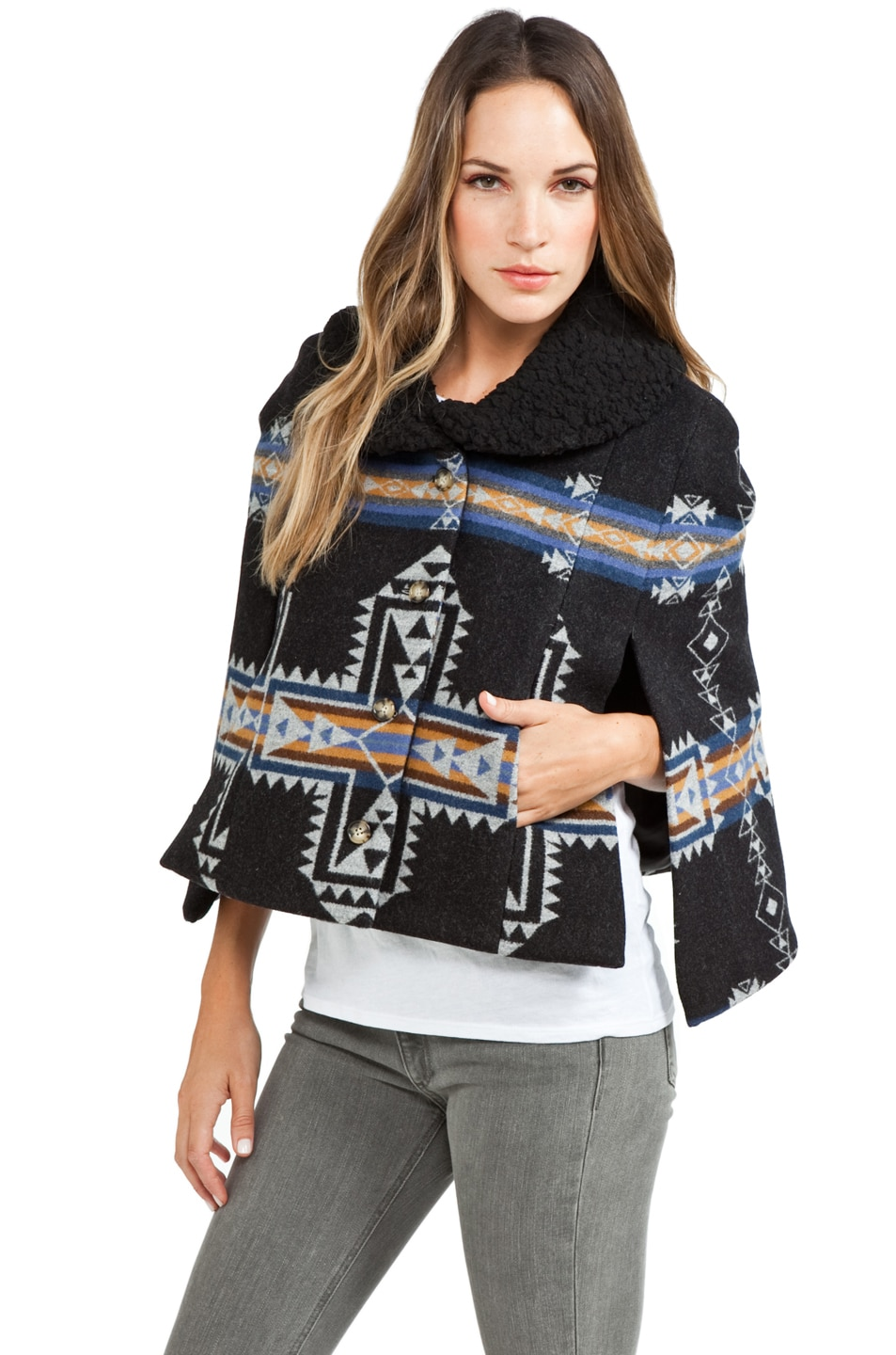 Image 2 of PENDLETON x Opening Ceremony Two Pocket Cape in Blue/Black