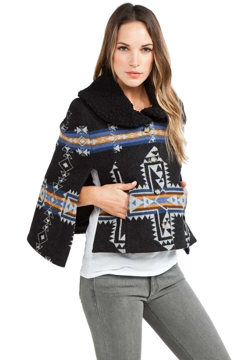 Image 3 of PENDLETON x Opening Ceremony Two Pocket Cape in Blue/Black