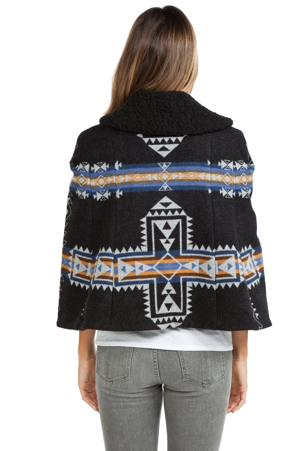 Image 4 of PENDLETON x Opening Ceremony Two Pocket Cape in Blue/Black