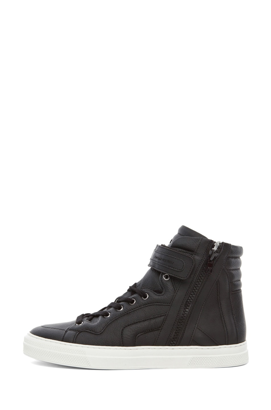 Image 1 of Pierre Hardy Paper Calf Hi Top Sneaker in Black