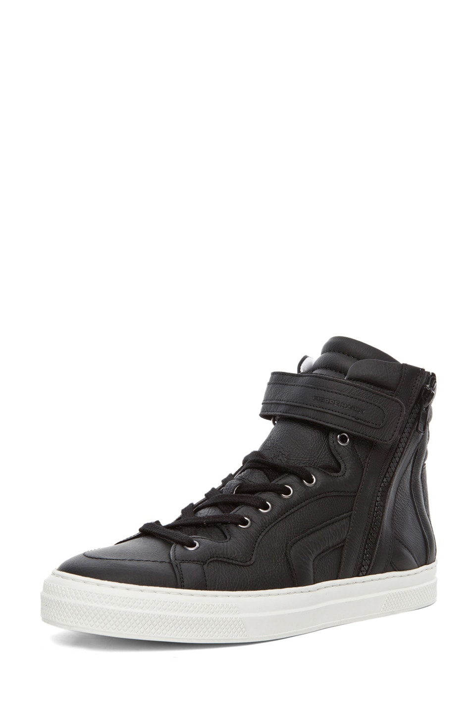 Image 2 of Pierre Hardy Paper Calf Hi Top Sneaker in Black