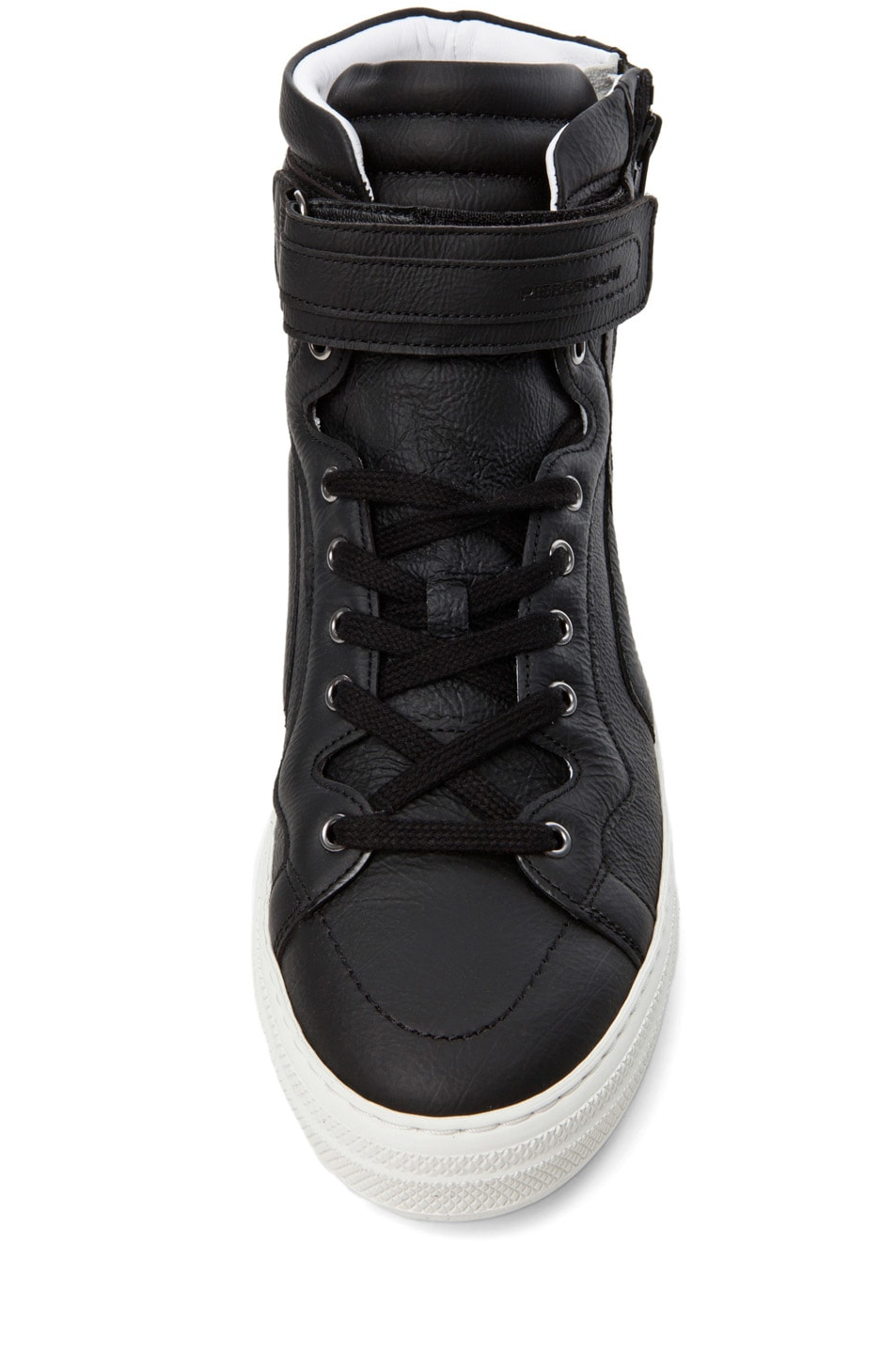 Image 4 of Pierre Hardy Paper Calf Hi Top Sneaker in Black