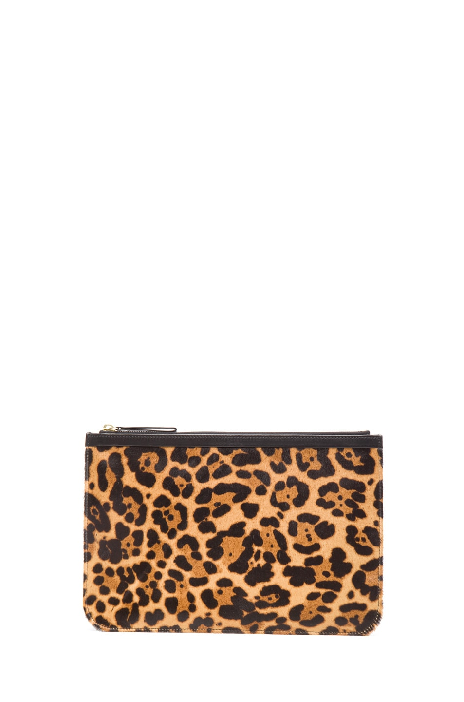 Image 1 of Pierre Hardy Large Leopard Calf Hair Pouch in Natural & Black