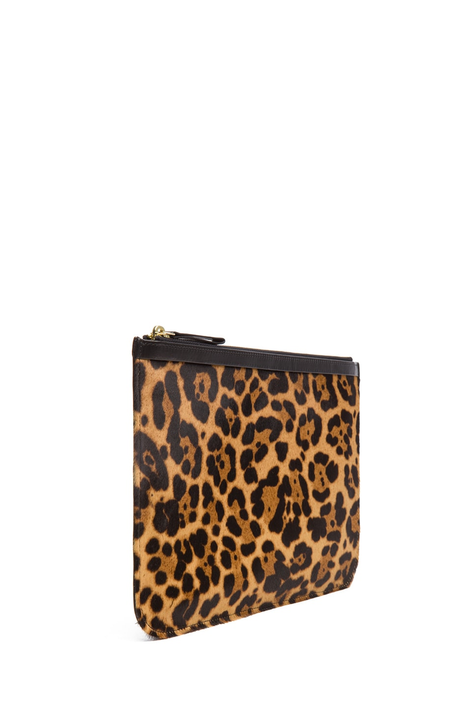 Image 3 of Pierre Hardy Large Leopard Calf Hair Pouch in Natural & Black