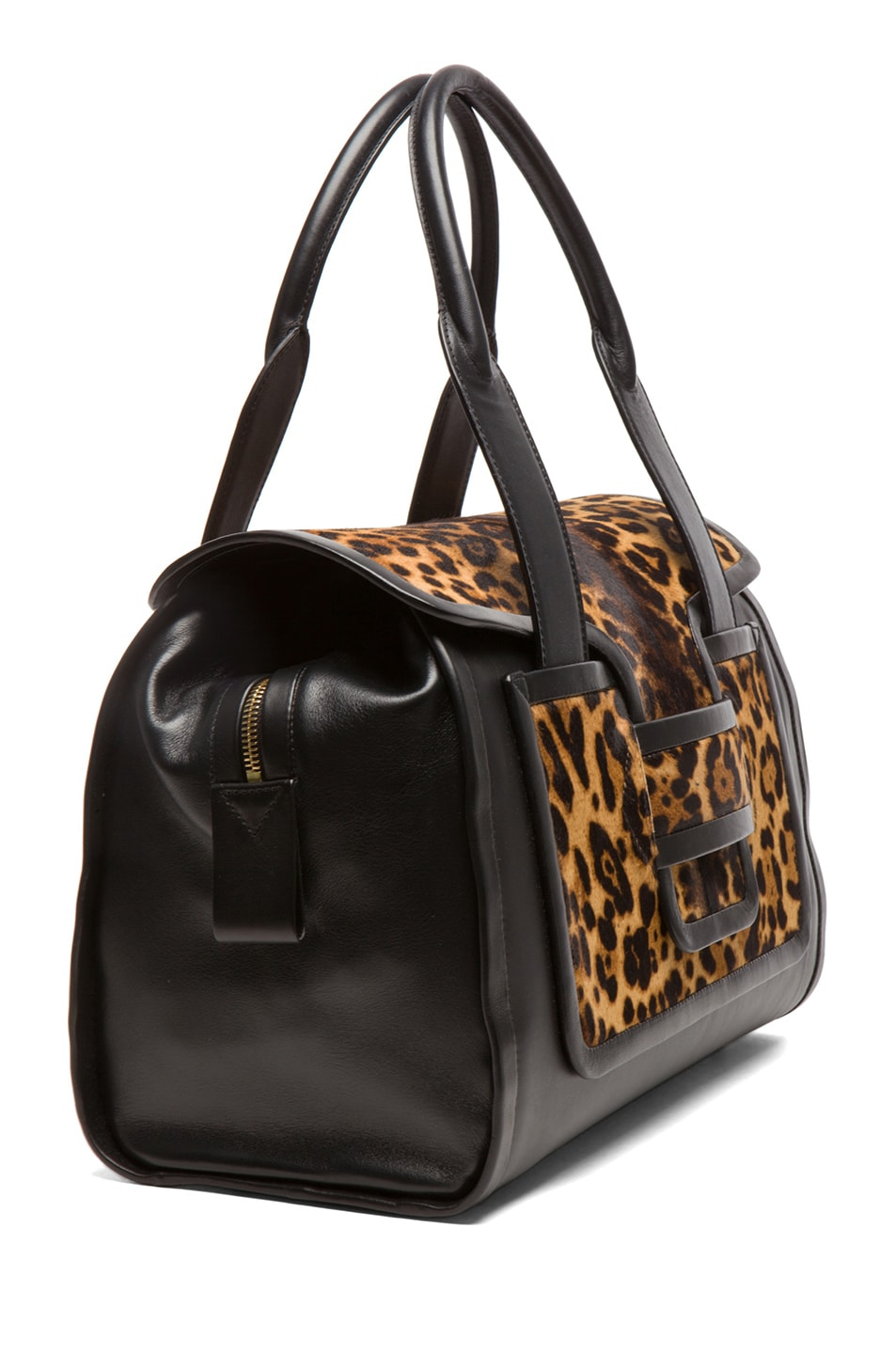Image 3 of Pierre Hardy Leopard Calf Hair Tote in Natural & Black