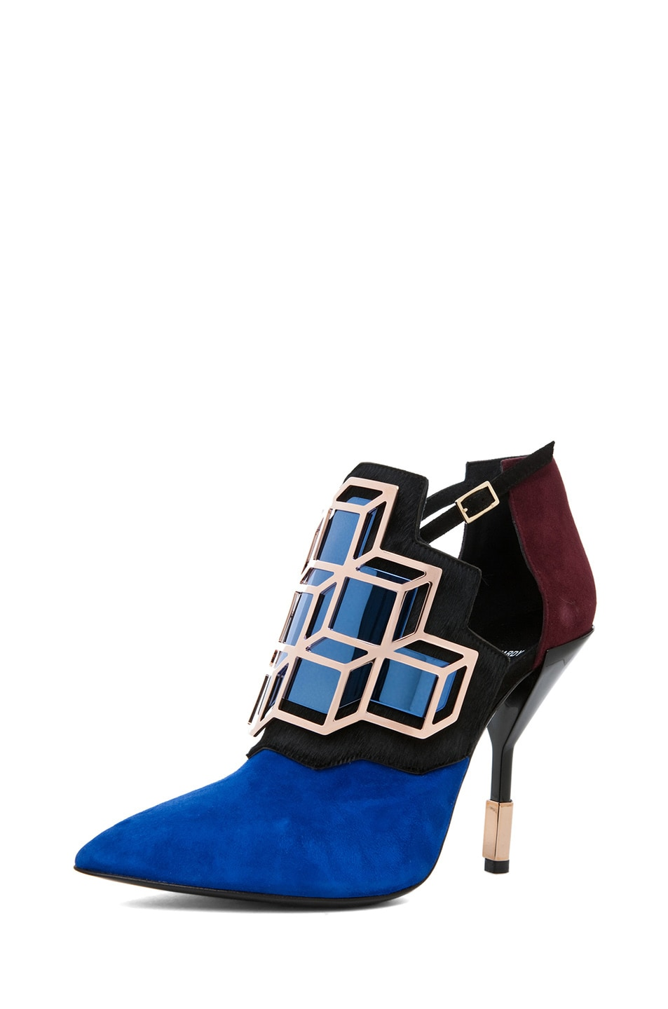 Image 2 of Pierre Hardy Suede Cube Bootie in Trico