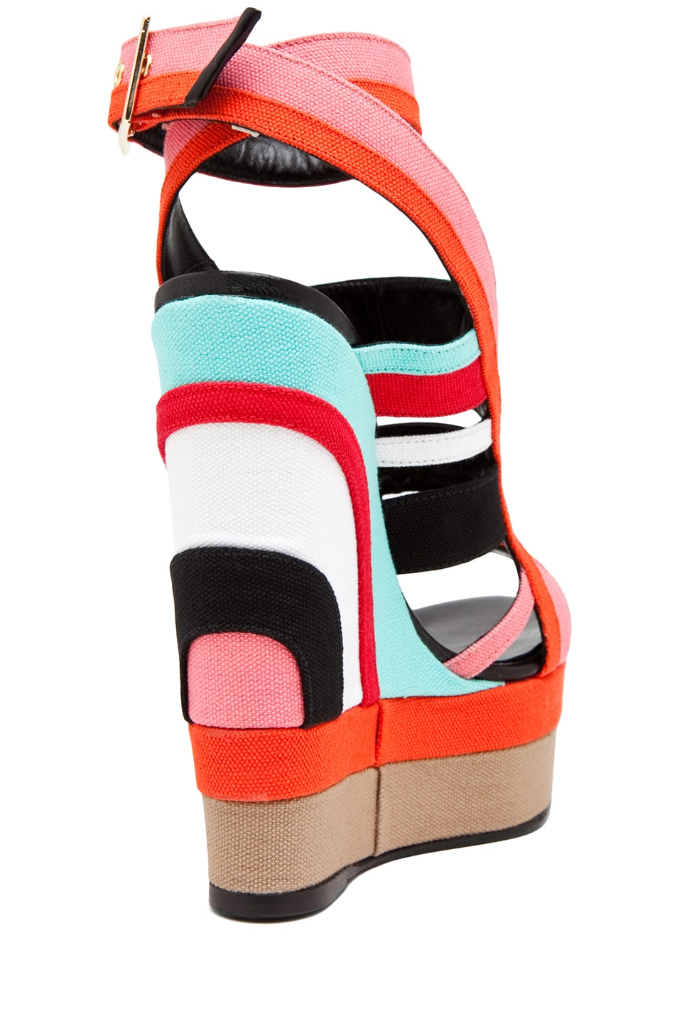 Image 3 of Pierre Hardy Canvas Multi Colored Wedge in Multi Beige