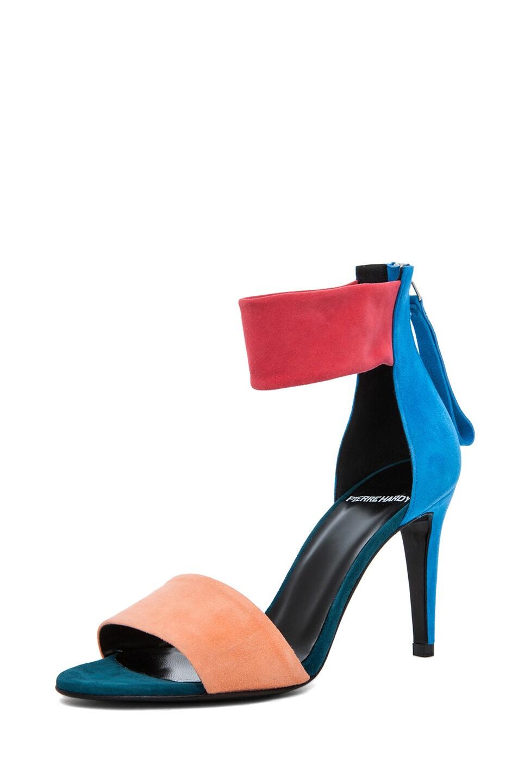 Image 2 of Pierre Hardy Suede Sandals in Quadri Peach