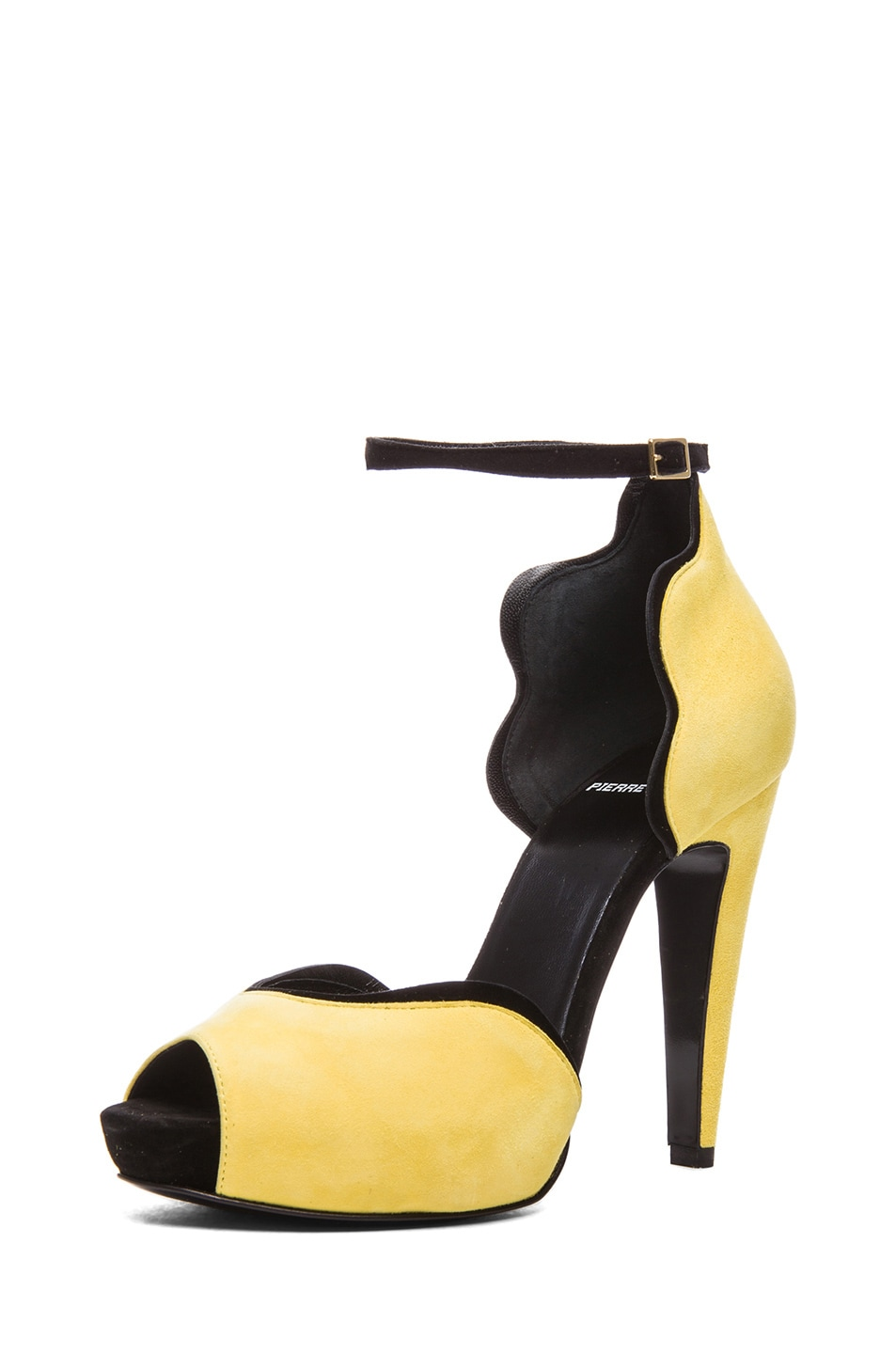 Image 2 of Pierre Hardy Sottsass Kid Suede Heels in Yellow & Black