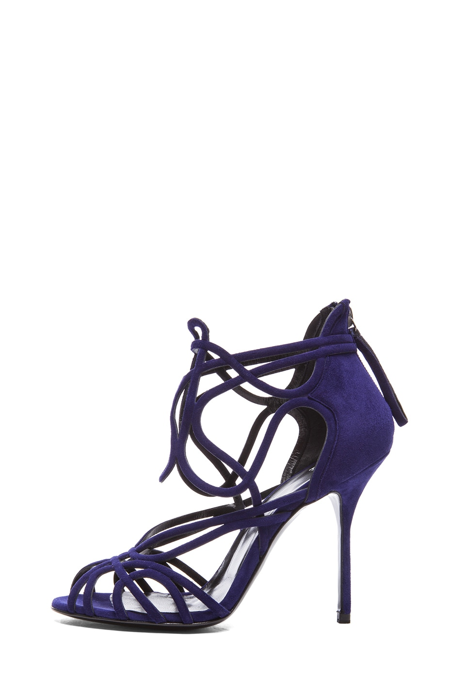 Image 1 of Pierre Hardy Mucha Kid Suede Heels in Dark Blue