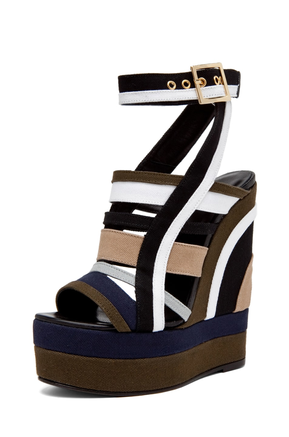 Image 1 of Pierre Hardy Canvas Multi Colored Wedge in Multi Kaki