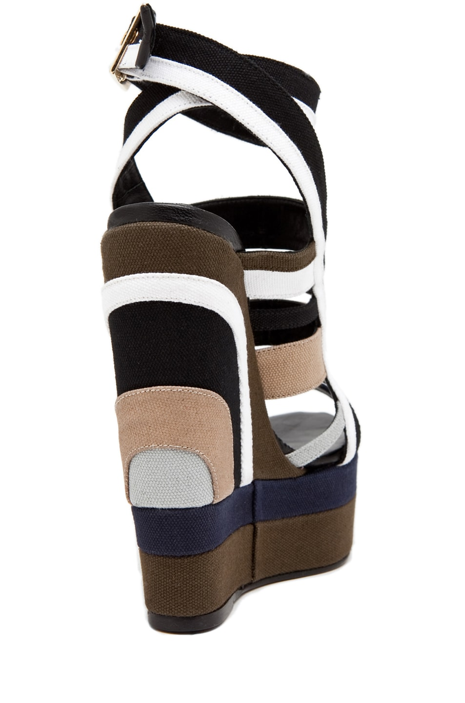 Image 3 of Pierre Hardy Canvas Multi Colored Wedge in Multi Kaki